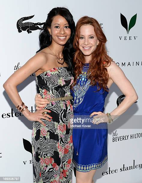 Actresses Sujata Day and Amy Davidson attend The Beverly Hilton unveiling of the redesigned Aqua Star Pool By Estee Stanley at The Beverly Hilton...