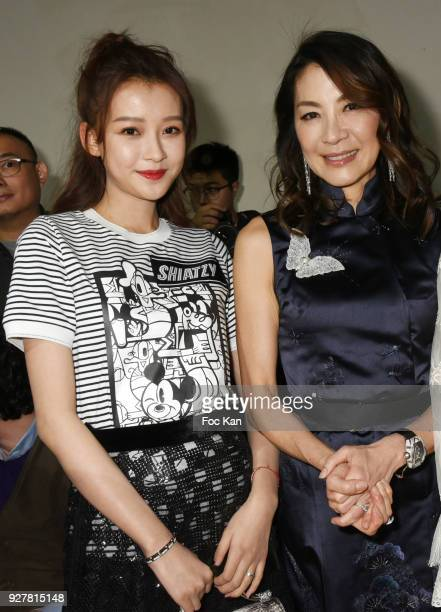 Actresses Sun Yi and Michelle Yeoh attend the Shiatzy Chen show as part of the Paris Fashion Week Womenswear Fall/Winter 2018/2019 on March 52018 in...