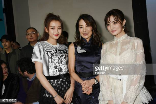 Actresses Sun Yi Michelle Yeoh and Xu Lu attend the Shiatzy Chen show as part of the Paris Fashion Week Womenswear Fall/Winter 2018/2019 on March...
