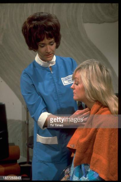 Actresses Susan Hanson and Zeph Gladstone in character as Diane Parker and Vera Downend in television soap Crossroads, circa 1972.