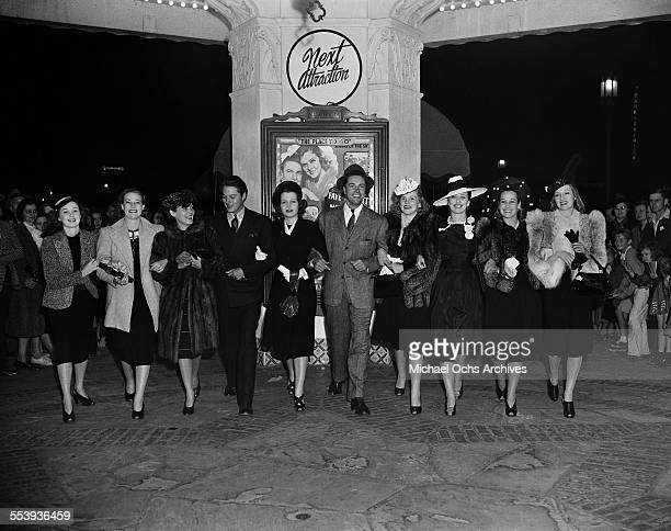 Actresses Susan Hayward, Judy Campbell, actor Bill Henry and actresses Betty Field, Patricia Morison, Jane Barrett, Evelyn Keyes line up in front of...