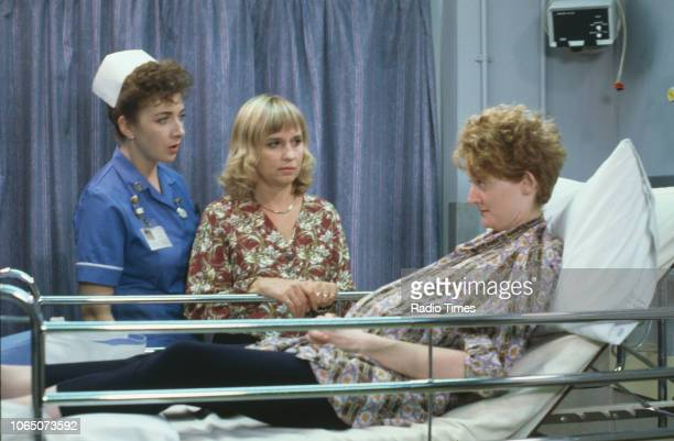 Actresses Susan Penhaligon and Maureen Beattie in a scene from episode 'Act of Faith' of the BBC television series 'Casualty' August 7th 1992