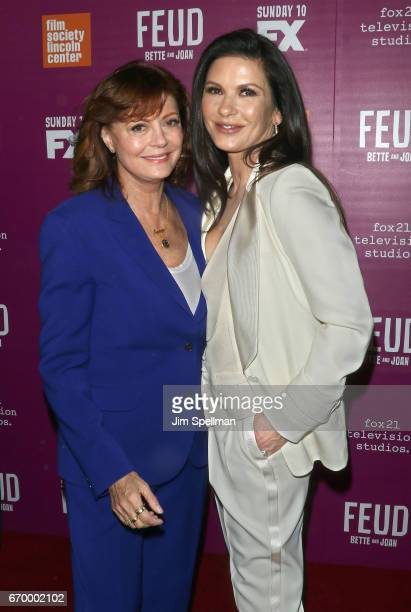 Actresses Susan Sarandon and Catherine ZetaJones attend the 'Feud Bette and Joan' NYC event at Alice Tully Hall at Lincoln Center on April 18 2017 in...