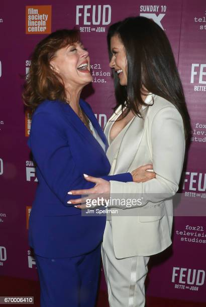 Actresses Susan Sarandon and Catherine ZetaJones attend the Feud Bette and Joan NYC event at Alice Tully Hall at Lincoln Center on April 18 2017 in...