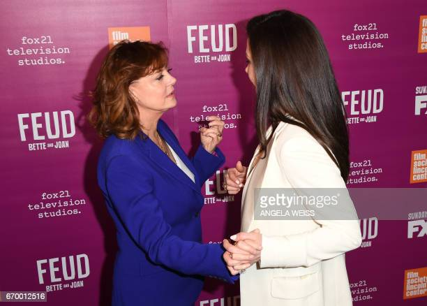 Actresses Susan Sarandon and Catherine ZetaJones attend the FX 'Feud Bette And Joan' NYC red carpet event at Alice Tully Hall at Lincoln Center on...