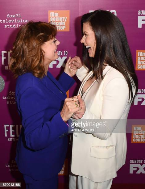 Actresses Susan Sarandon and Catherine ZetaJones attend the FX 'Feud Bette And Joan' NYC event at Alice Tully Hall at Lincoln Center on April 18 2017...