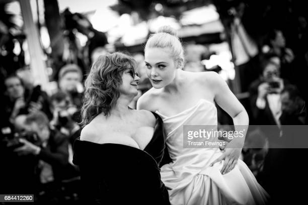 Actresses Susan Sarandon and Elle Fanning attend the Ismael's Ghosts screening and Opening Gala during the 70th annual Cannes Film Festival at Palais...