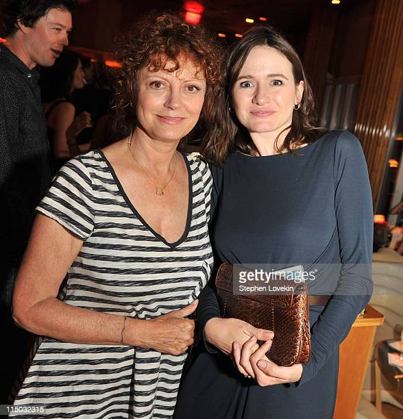 Actresses Susan Sarandon and Emily Mortimer attend the after party for the Gucci Cinema Society the Film Foundation screening of La Dolce Vita at the...