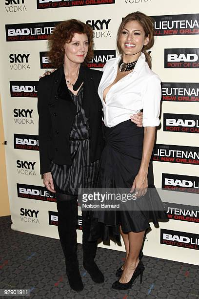 Actresses Susan Sarandon and Eva Mendes attend a screening of Bad Lieutenant Port Of Call New Orleans at the SVA Theater on November 8 2009 in New...