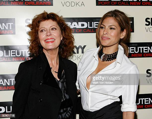 Actresses Susan Sarandon and Eva Mendes attend the New York premiere of 'Bad Lieutenant' at the SVA Theater on November 8 2009 in New York City