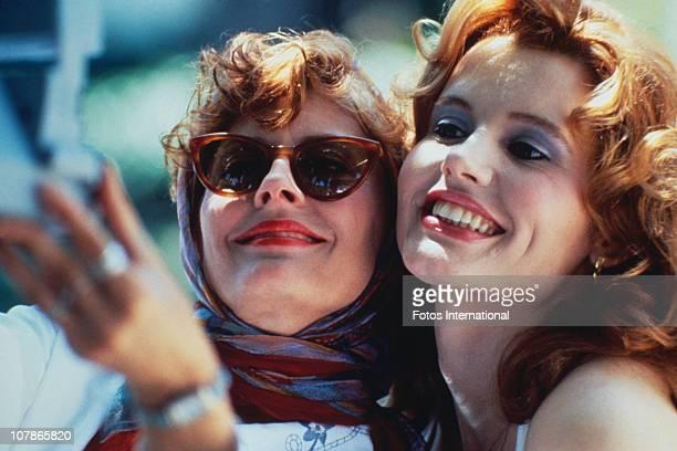 Actresses Susan Sarandon and Geena Davis star in the film 'Thelma And Louise' 1991