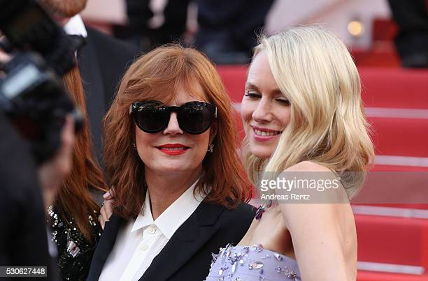Actresses Susan Sarandon and Naomi Watts attend the 'Cafe Society' premiere and the Opening Night Gala during the 69th annual Cannes Film Festival at...