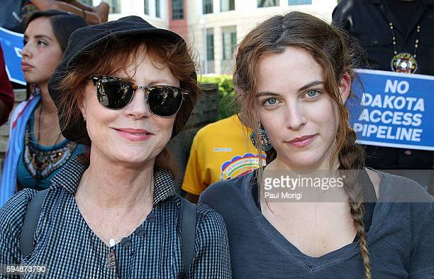 Actresses Susan Sarandon and Riley Keough participate in a rally in support of a lawsuit against The Army Corps of Engineers to protect water and...