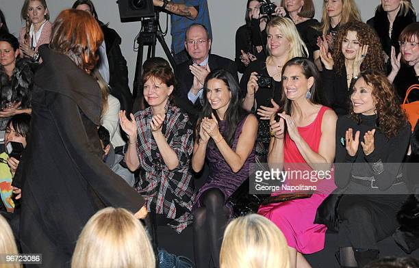 Actresses Susan Sarandon Demi Moore Brooke Shields and Marisa Berenson attend the Donna Karan Collection Fall 2010 fashion show during MercedesBenz...