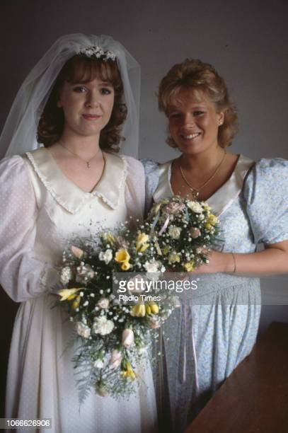 Actresses Susan Tully and Letitia Dean pictured during the filming of a wedding scene on the set of the BBC soap opera 'EastEnders' September 26th...
