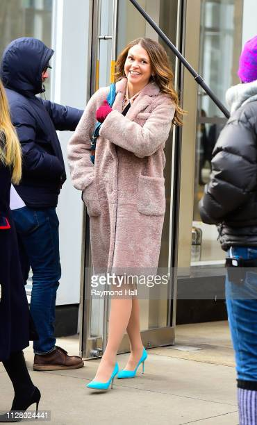 Actresses Sutton Foster is seen on set of 'Younger' on February 27, 2019 in New York City.