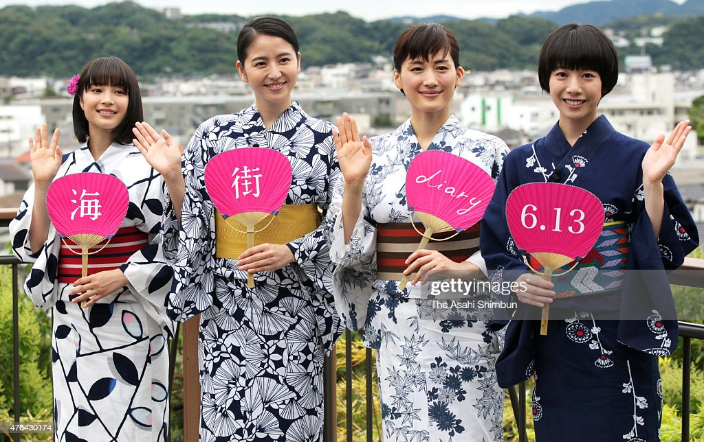 Actresses Suzu Hirose, Masami Nagasawa, Haruka Ayase and Kaho wearing yukata, Japanese summer kimono, pose for photographs during the 'Umimachi Diary (Our Little Sister)' promotion event at Hasedera Temple on June 9, 2015 in Kamakura, Kanagawa, Japan.