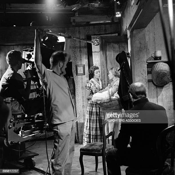 Actresses Suzy Delair and Maria Schell on the Set of the Movie 'Gervaise' Directed by René Clement in Paris France in 1956