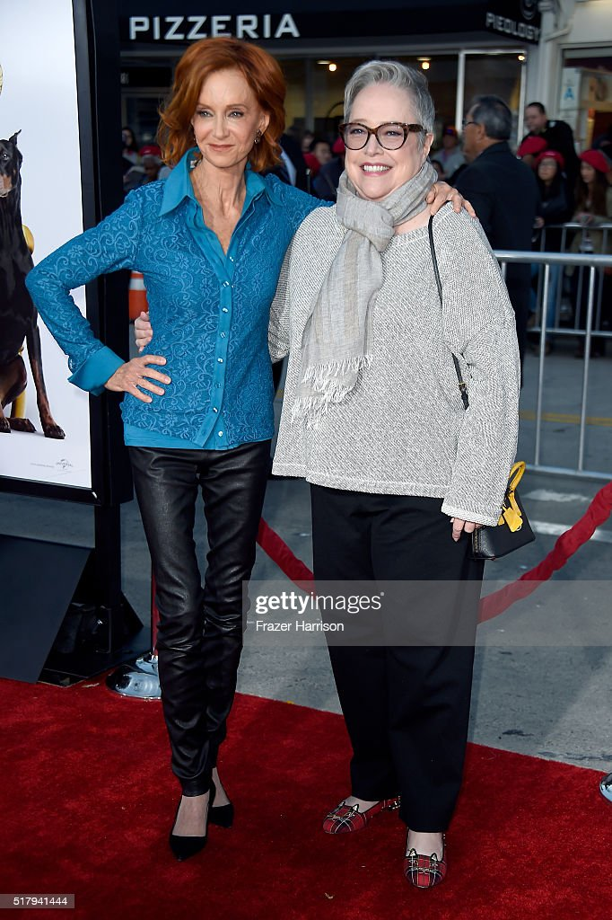 Actresses Swoosie Kurtz (L) and Kathy Bates attend the premiere of USA Pictures' 'The Boss' at Regency Village Theatre on March 28, 2016 in Westwood, California.