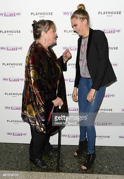 "Actresses Sylvia Syms and Cara Delevingne attend the launch party of ""Timeless"" a oneoff film as part of Sky Arts' Playhouse Presents season at The..."