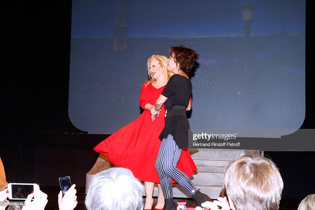 Actresses Sylvie Vartan and Isabelle Mergault triumph in the Theater Play 'Ne me regardez pas comme ca !', performed at 'Theatre Des Varietes' on September 19, 2015 in Paris, France.