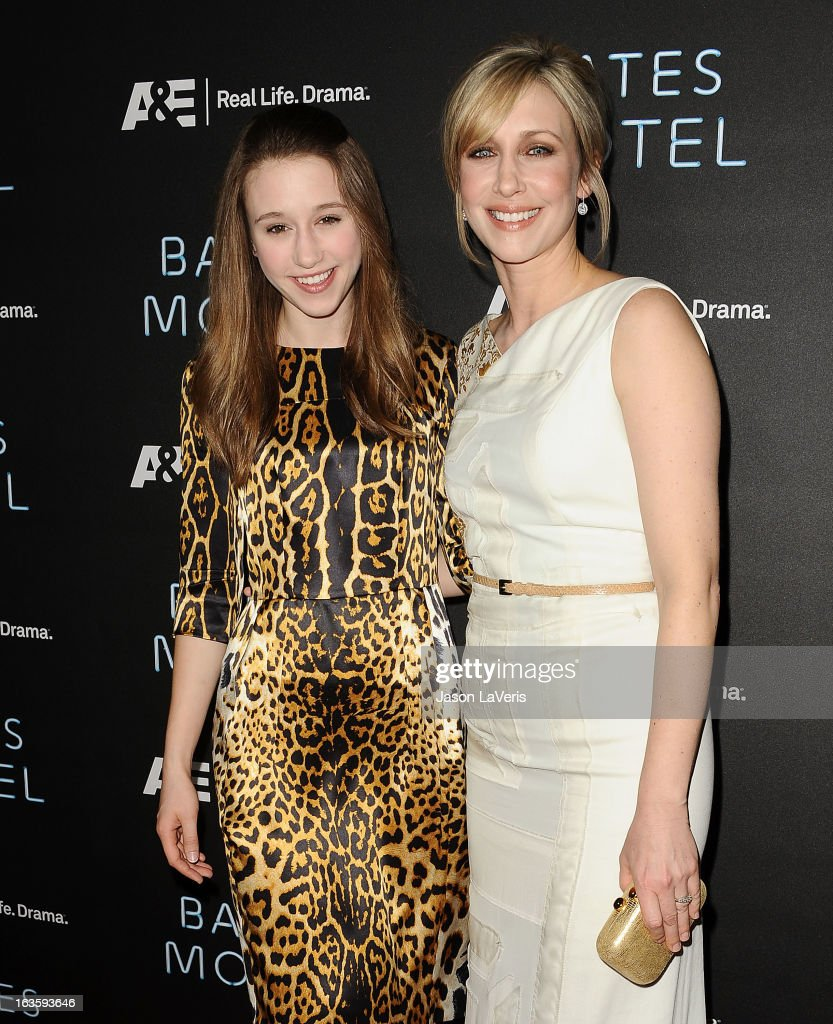 Actresses Taissa Farmiga and Vera Farmiga attend the premiere of 'Bates Motel' at Soho House on March 12, 2013 in West Hollywood, California.