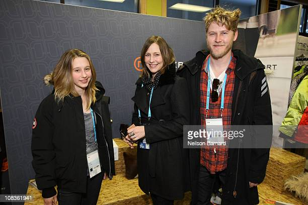 Actresses Taissa Farmiga,Vera Farmiga and Producer Renn Hawkey at the Rockport At Kari Feinstein Style Lounge on January 21, 2011 in Park City, Utah.