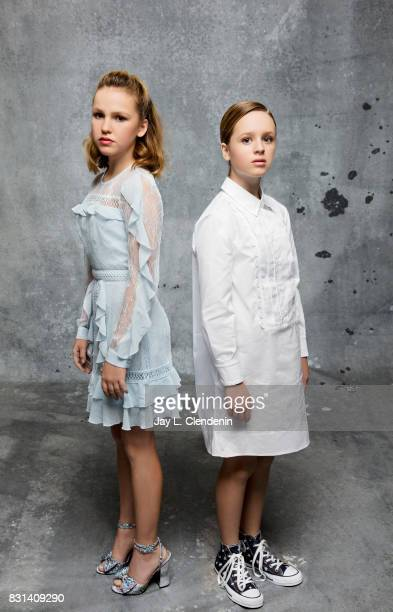 Actresses Talitha Bateman and Lulu Wilson from the film 'Annabelle Creation' are photographed in the LA Times photo studio at ComicCon 2017 in San...