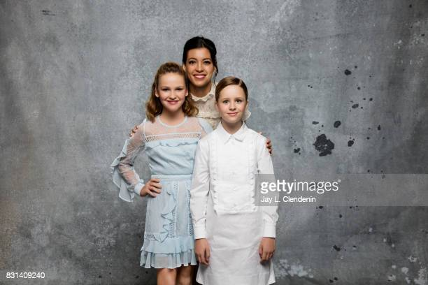 Actresses Talitha Bateman Stephanie Sigman and Lulu Wilson from the film 'Annabelle Creation' are photographed in the LA Times photo studio at...