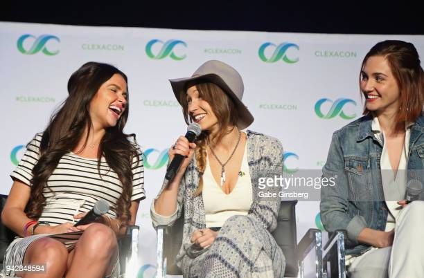 Actresses Tamara Duarte Dominique ProvostChalkley and Katherine Barrell speak at the Wynonna Earp panel during the ClexaCon 2018 convention at the...