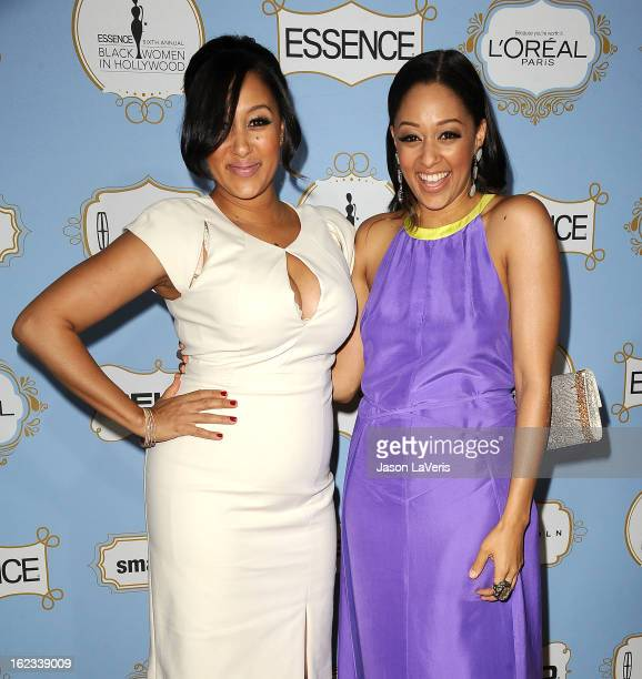 Actresses Tamera Mowry and Tia Mowry attend the 6th annual ESSENCE Black Women In Hollywood awards luncheon at Beverly Hills Hotel on February 21,...