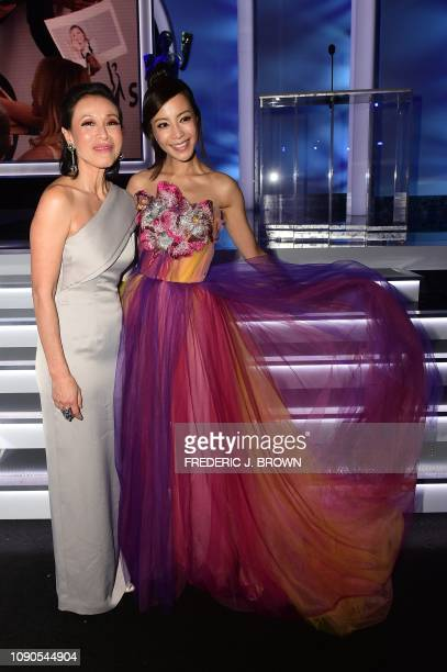 Actresses Tan Kheng Hua and Fiona Xie attend the 25th Annual Screen Actors Guild Awards show at the Shrine Auditorium in Los Angeles on January 27...