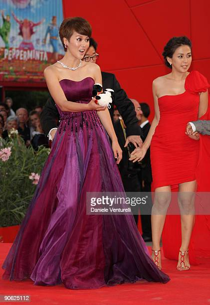 Actresses Tan Weiwei and Wu Anya attend the Closing Ceremony Red Carpet And Inside at The Sala Grande during the 66th Venice Film Festival on...