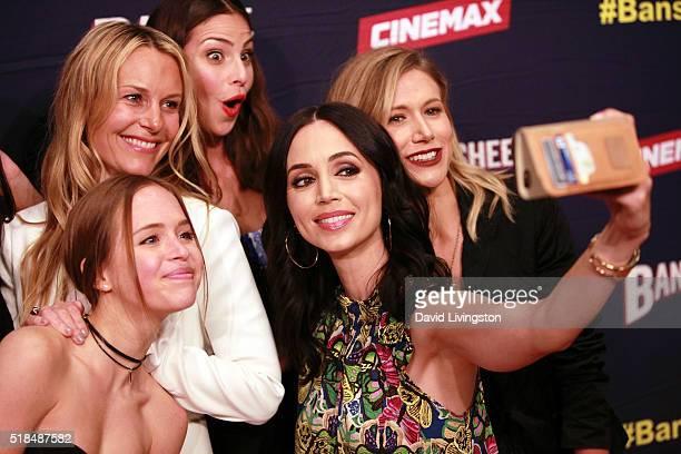 Actresses Tanya Clarke Ryann Shane Ana Ayora Eliza Dushku and Jennifer Landon pose for a selfie at the premiere of Cinemax's 'Banshee' 4th Season at...