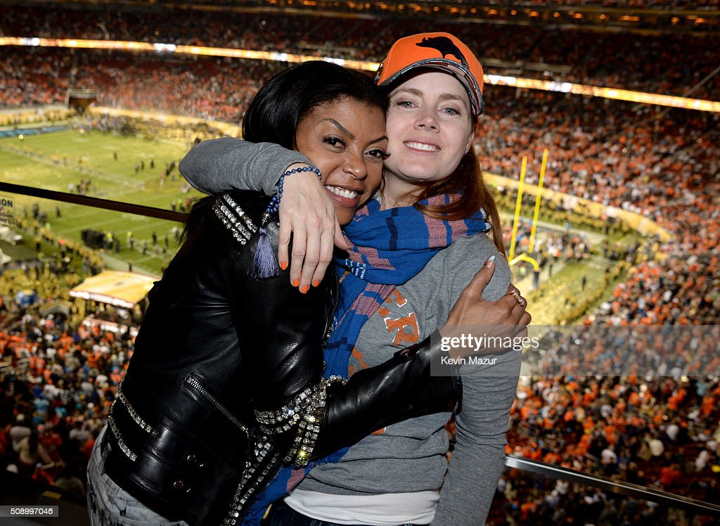 Actresses Taraji P. Henson (L) and Amy Adams attend Super Bowl 50 at Levi's Stadium on February 7, 2016 in Santa Clara, California.