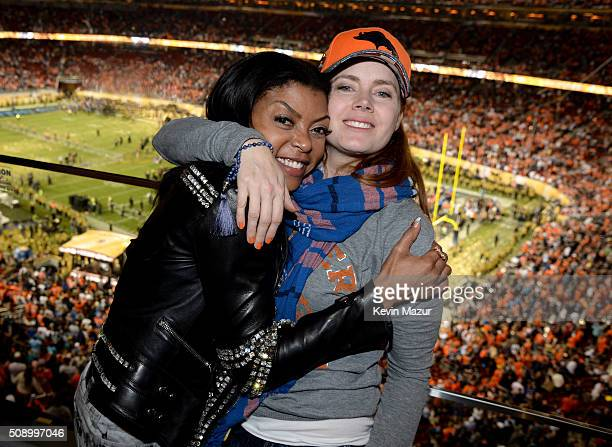Actresses Taraji P Henson and Amy Adams attend Super Bowl 50 at Levi's Stadium on February 7 2016 in Santa Clara California