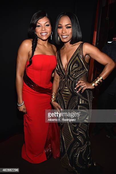 Actresses Taraji P Henson and Angela Bassett attend the 46th NAACP Image Awards presented by TV One at Pasadena Civic Auditorium on February 6 2015...