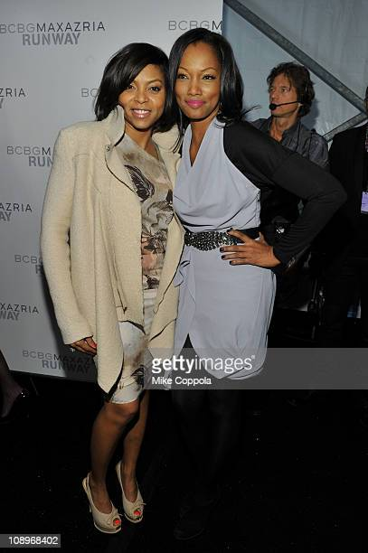 Actresses Taraji P Henson and Garcelle Beauvais pose backstage at the BCBGMAXAZRIA Fall 2011 fashion show during MercedesBenz Fashion Week at The...