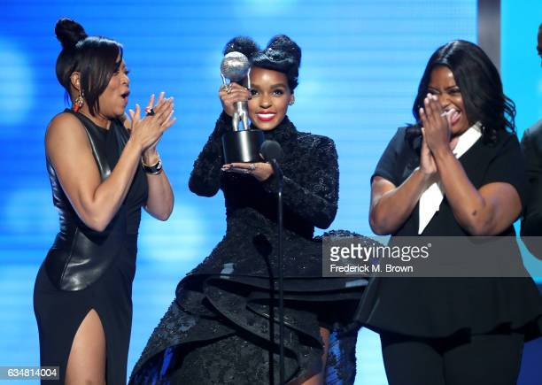 Actresses Taraji P. Henson, Janelle Monáe, and Octavia Spencer accept award for Outstanding Motion Picture onstage at the 48th NAACP Image Awards at...