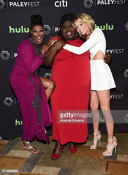 Actresses Ta'Rhonda Jones Gabourey Sidibe and Kaitlin Doubleday arrive at The Paley Center For Media's 33rd Annual PaleyFest Los Angeles presentation...
