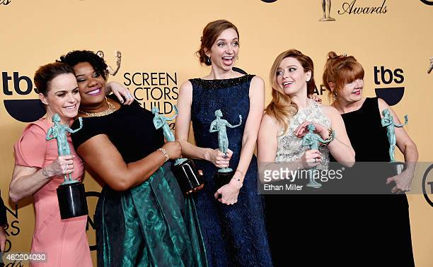 Actresses Taryn Manning Adrienne C Moore Lauren Lapkus Natasha Lyonne and Annie Golden winners of Outstanding Performance by an Ensemble in a Comedy...