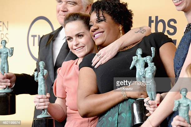 Actresses Taryn Manning and Adrienne C Moore pose in the press room at the 21st Annual Screen Actors Guild Awards at The Shrine Auditorium on January...