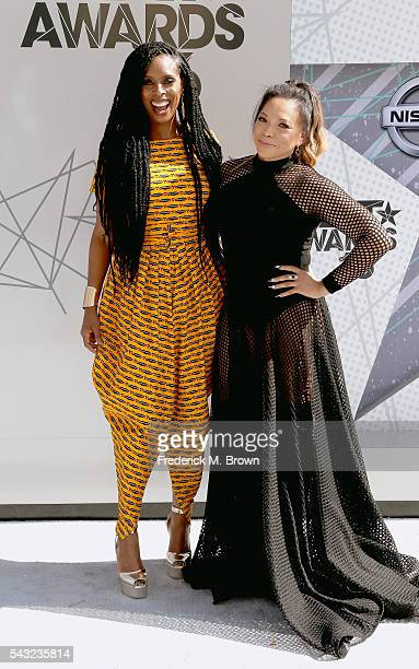 Actresses Tasha Smith and Tisha CampbellMartin attend the 2016 BET Awards at the Microsoft Theater on June 26 2016 in Los Angeles California