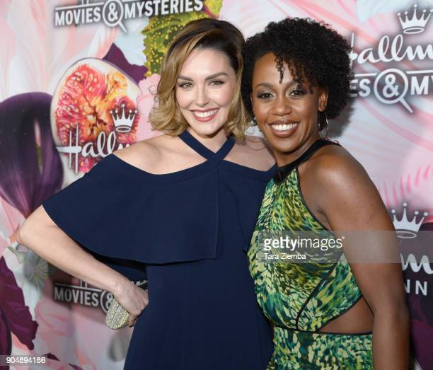 Actresses Taylor Cole and Rukiya Bernard attend Hallmark Channel and Hallmark Movies and Mysteries Winter 2018 TCA Press Tour at Tournament House on...