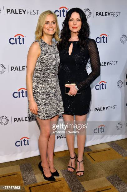 Actresses Taylor Schilling and Laura Prepon arrive at the 2014 PaleyFest Orange Is The New Black event at the Dolby Theatre on March 14 2014 in...