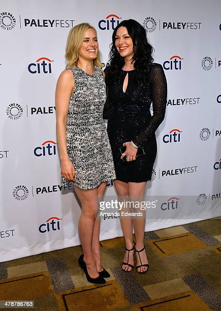 """Actresses Taylor Schilling and Laura Prepon arrive at the 2014 PaleyFest - """"Orange Is The New Black"""" event at the Dolby Theatre on March 14, 2014 in..."""