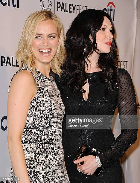 """Actresses Taylor Schilling and Laura Prepon attend the """"Orange Is The New Black"""" event at the 2014 PaleyFest at Dolby Theatre on March 14, 2014 in..."""
