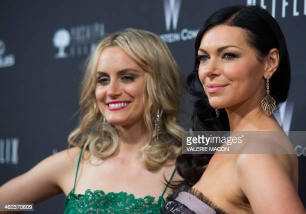 Actresses Taylor Schilling and Laura Prepon attend The Weinstein Company Netflix's 2014 Golden Globes After Party at The Beverly Hilton Hotel on...