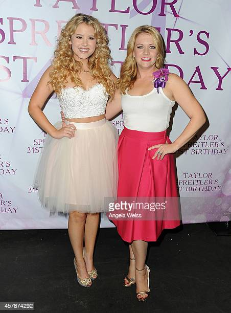 Actresses Taylor Spreitler and Melissa Joan Hart attend Taylor Spreitler's 21 In The City Birthday Party at CBS on October 25 2014 in Studio City...