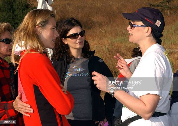 Actresses Tea Leoni and Jeanne Tripplehorn chat with Breast Cancer patient Teri Roseman at the 8th Annual Expedition Inspiration TakeAHike at...